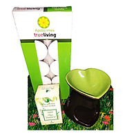 Combo đèn xông tinh dầu nến hình trái tim + tinh dầu sả chanh 10ml Bio Aroma tặng kèm 10 viên nến tealight (đèn giao màu ngẫu nhiên)