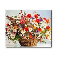 Tranh sơn dầu số hóa tự tô đã căn khung 40x50cm- PH9275 Giỏ hoa muôn sắc