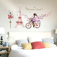 Decal dán tường Cô gái và tháp Paris trang trí phòng khách,phòng ngủ đẹp