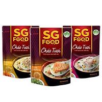 Lốc 3 gói cháo tươi SG Food(thịt bằm, sườn non, cá hồi) 240g