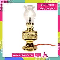 Đèn thờ điện led cúng truyền thống trụ tròn kim sa vàng cao 18cm sáng rực rỡ - Có dây + bóng sẵn
