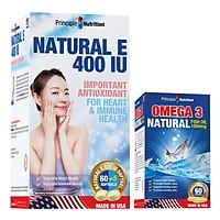 Thực Phẩm Chức Năng Bộ 2 Viên Vitamin E Bảo Vệ Và Duy Trì Vẻ Đẹp Của Làn Da Principle Nutrition Natural E 400Iu (65 Viên / Hộp) + Tặng 1 Hộp Omega 3 (60 Viên)
