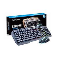 Bộ phím giả cơ và chuột Bosston 8350 phím cao chống nước, bấm cực êm, phím cao, chuyên game (Đen) hàng chính hãng