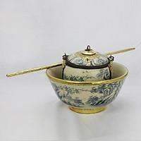 Điếu bát tô men rạn bọc đồng vẽ Sơn Thủy gốm sứ Bát Tràng (điếu hút thuốc lào)