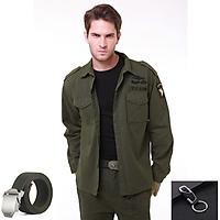 Áo lính mỹ dài tay - Tặng thắt lưng và móc đeo khóa