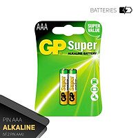 Pin đũa GP Super Alkaline AAA 1.5V (2 viên/4viên),Pin AAA GP,Pin chuột máy tính,Pin điều khiển quạt,Pin điều khiển tivi,Pin sử dụng cho các thiết bị nhỏ,Pin đồng hồ treo tường,Pin đồ chơi điện tử trẻ em
