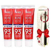 Bộ 3 Kem đánh răng MEDIAN Dental IQ 93% 120gr (Màu đỏ)+Tặng kèm Vỉ Đôi Bàn Chải Okamura Asahi