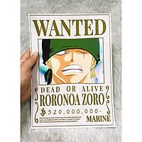 Poster One Piece Zoro Mới Nhất, Poster Lệnh Truy Nã Zoro (Hình dán tường tiện lợi, Chất lượng Full HD)