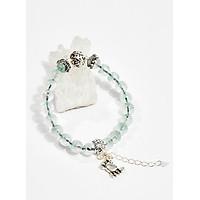 Vòng tay phong thủy nữ đá thạch anh xanh charm cua 8mm mệnh hỏa , mộc - Ngọc Quý Gemstones