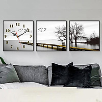 Tranh treo tường, tranh đồng hồ NT099 bộ 3 tấm ghép