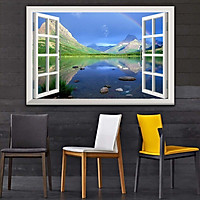 Bức tranh cửa sổ 3D dán tường PHONG CẢNH HỒ NƯỚC 2 lựa chọn bề mặt cán PVC gương hoặc cán bóng, mã số: 00402071L11