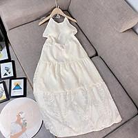 Đầm maxi váy yếm hở lưng ren hoa nổi hot hit (Hàng may 2 lớp sẵn mút ngực,ảnh và video thật trải sàn)