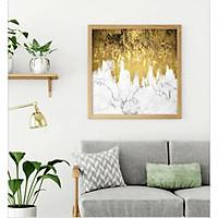 Tranh Canvas Trừu Tượng Dãy Núi Vàng Kim Trang Trí Treo Tường