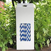 Hộp 100 ống hút giấy kích thước 197x6mm màu trắng xanh dương thân thiện môi trường dùng cho mọi loại nước