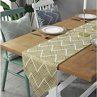 Khăn trải bàn dài Runner 30x180 vải bố, họa tiết gợn sóng, màu vàng mỡ gà