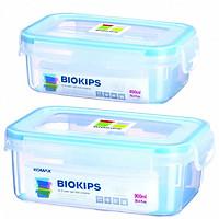 Bộ 2 Hộp đựng thực phẩm chia ngăn Komax Biokips cao cấp Hàn Quốc - 450ml & 900ml