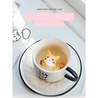 Cốc sứ kèm thìa đĩa Mèo ngồi trong cốc - 300ml (Giao Ngẫu Nhiên)