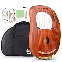 Walter.t WH-16 16-String Wooden Lyre Harp Metal Strings Solid Wood String Instrument with Carry Bag Tuning Wrench