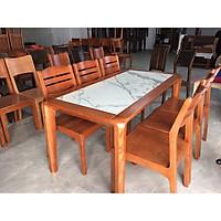 Bàn ăn gỗ Sồi mặt đá 6 ghế ,Bộ bàn ăn mặt đá,.Bộ bàn ăn gỗ sồi tự nhiên