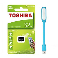 Thẻ nhớ MicroSDHC Toshiba M203 UHS-I U1 32GB 100MB/s (Đen) - Hàng chính hãng + Tặng Đèn Led