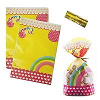 10 túi cột dây kẽm chia quà bánh kẹo 16 x 24 cm hình cầu vồng