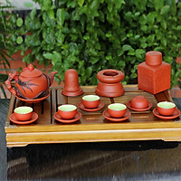 Bộ ấm chén tử sa đỏ đắp nổi hoa Lan đen và phụ kiện gốm sứ Bát Tràng (bộ bình uống trà, bình trà)