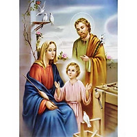 Tranh thêu chữ thập Gia Đình Chúa(50*67cm) chưa thêu