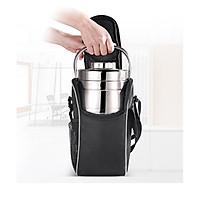 Túi cách nhiệt TCN.B239 đựng hộp cơm trưa văn phòng, Túi màu đen dáng đứng có dây đeo tiện lợi khi di chuyển