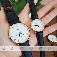 Đồng hồ cặp đôi nam nữ Halei kim xanh mặt trắng dây da nâu chính hãng Tony Watch 68