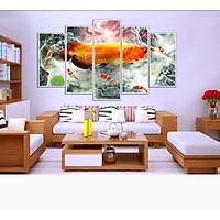 Bộ Tranh 5 Tấm Hoa Sen Cá Chép - Cửu Ngư Quần Hội - CN161