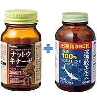 Combo viên uống hỗ trợ phòng ngừa tai biến đột quỵ Nattokinase và Dầu gan cá mập Orihiro Squalene Nhật Bản