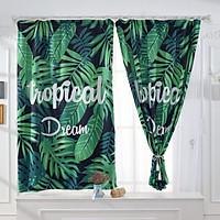 Banana Leaves Printed Window Curtain Bay Window Drape Bedroom Living Room Decoration