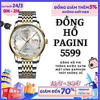 Giá FLASH SALE  Đồng Hồ Nam Cao Cấp Chính Hãng Pagini Pa5599 Dây Thép Không Gỉ - Chống Nước 3ATM - Hiển Thị 2 Lịch Đẳng Cấp