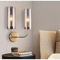 Đèn gắn trang trí tường ngọn đèn trụ thân vàng 2 ống cao cấp GT428 (tặng kèm bóng đèn).