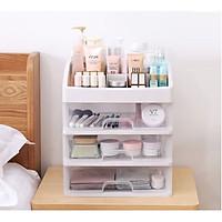 Kệ tủ đựng Mỹ phẩm ,dụng cụ makeup, trang sức 4 tầng bằng Nhựa cao cấp trong suốt (Có hình chụp thật thực tế Sản phẩm)