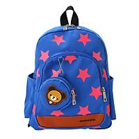 Balo đi học trẻ em Canvas ngôi sao dễ thương với ví tiền màu đỏ