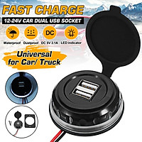Green/Blue/Red/White(Dual USB)12-24V Universal LED Indicator Dual USB Socket Waterproof Dustproof Fast Charger For Car