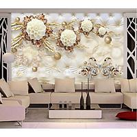 Tranh dán tường hoa 3d trang trí phòng ngủ vải lụa phủ kim sa
