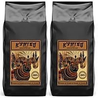 Combo 2 kg cà phê pha máy espresso K Phiêu - cà phê rang xay nguyên chất Cầu Đất Việt Nam mỗi túi 1kg