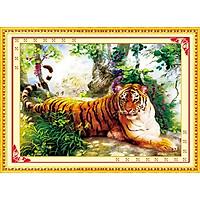 Tranh thêu chữ thập Hổ Trong Rừng Thiêng (96*68cm) chưa thêu