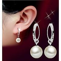 bông tai nữ khuyên vòng kết hợp viên ngọc trai 10mm cao cấp bt11 - màu trắng
