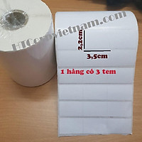 Giấy In Mã Vạch 3 Tem 10 Cuộn 22x35mm (Cuộn 50 Mét) - Decal Mã Vạch 3 Tem