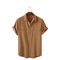Áo đũi nam cổ bẻ áo sơ mi nam cộc tay vải đũi cao cấp có túi hộp thoáng mát mặc mùa hè Micado