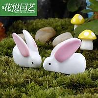 Chú thỏ trắng làm phụ kiện trang trí tiểu cảnh terrarium, charm slime, DIY, đồ handmade