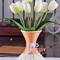 Chùm Hoa Lụa giả 9 Bông Hoa TuLip Màu Trắng