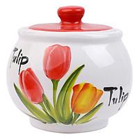 Hũ Đựng Gia Vị, Bánh Mứt Bằng Sứ Cao Cấp Hình Hoa Tulip Dáng Tròn Minh Tiến J1 (8cm)
