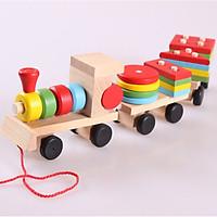 Đồ chơi gỗ tàu hỏa chở hình khối cho bé