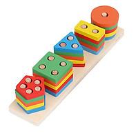 Đồ chơi hình khối bằng gỗ xây dựng 5 cột khối lắp ghép hình học - đồ chơi gỗ thông minh cho bé