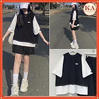 Set 2 áo ngắn tay KA Closet Set đồ nữ gồm áo trắng tay lỡ và áo gile rách chỉ nổi