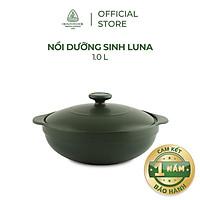 Nồi Sứ Dưỡng Sinh Minh Long - Luna 1.0 L + Nắp Dùng Cho Bếp Gas, Bếp Hồng Ngoại - Hàng Chính Hãng